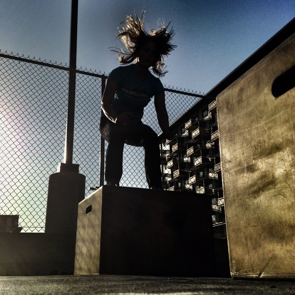 Anne. Superhero hair. Box Jumps.  Photo by Rafael Vega