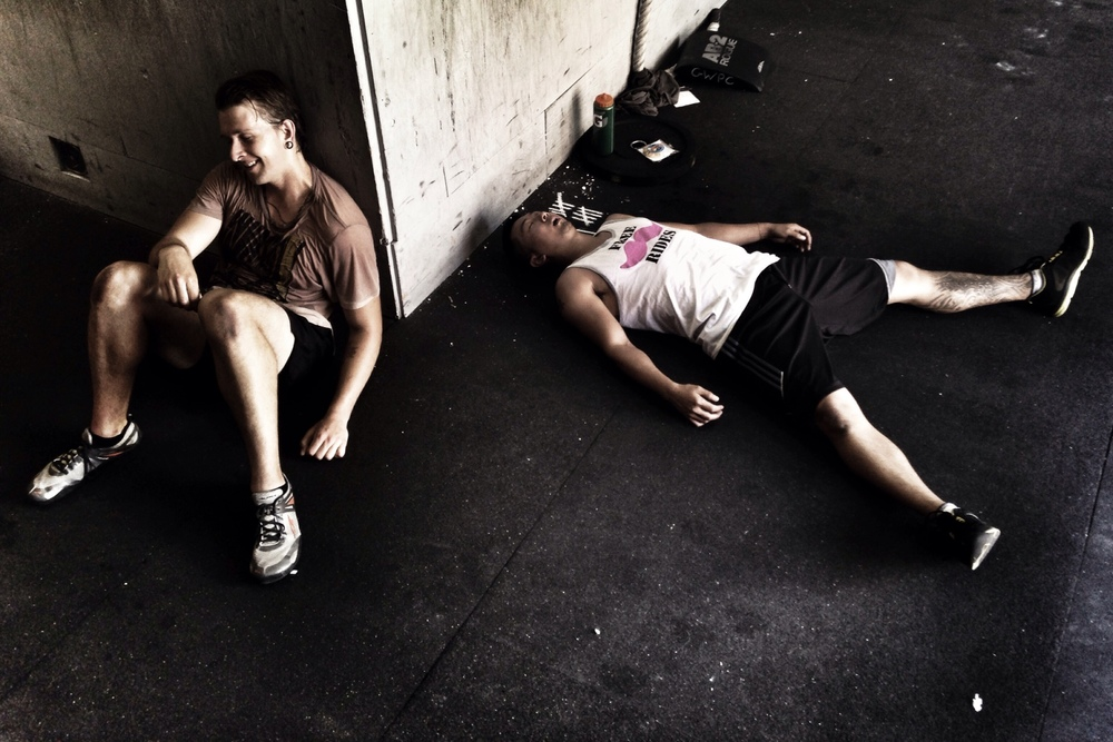 Forest and Calvin. Post Murph (5/26/14).  Photo by Rafael Vega