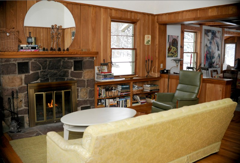 Living room with stone fireplace!