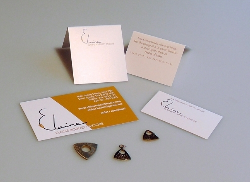 Earring cards (front & back), Necklace/bracelet tags, bronze jewelry tags, business card with logo.