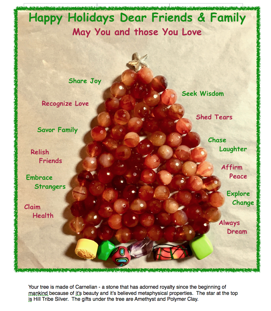 I designed this tree to reflect the gifts I believe to be most imperative for each of us to be successful and prosperous in the coming year and throughout life.                                           Happy New Year, Elaine