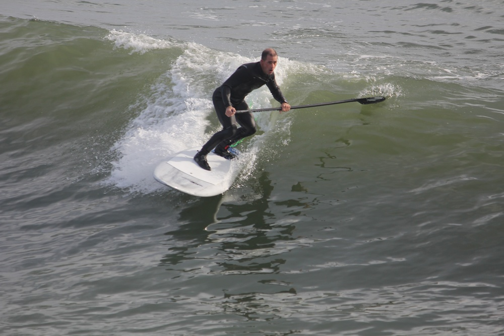 Surf Machines first time surfing Jacky's new 7'8 Accelerator