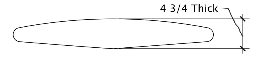 The same shape when Vee and a domed deck are added. Identical rail thickness/size to the flat deck-flat bottom shape.  This shape, while massively thick, is actually less stable than the much thinner shape above. Why? The riders C.G. is higher off the water, combined with the standing on a round log sensation, making for increased side to side shimmy (wobble).