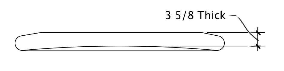 "A flat deck with concave bottom. Identical rail thickness/size to the flat deck-flat bottom shape. On shapes like this, the thickness numbers are lower, making you think the shape is more radical. When in fact, its the same rail thickness/size as the 4"" thick flat bottom board. Stability will be about the same."