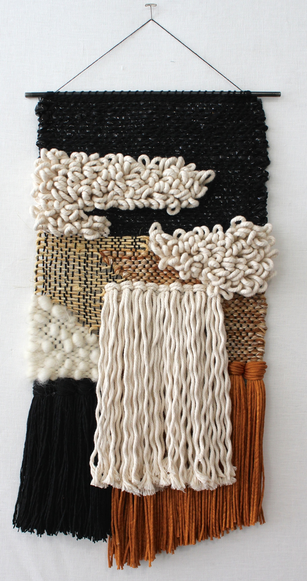 "Cotton, plastic, silk, sisal, steel, wool.  2015.  12""w x 23""l"
