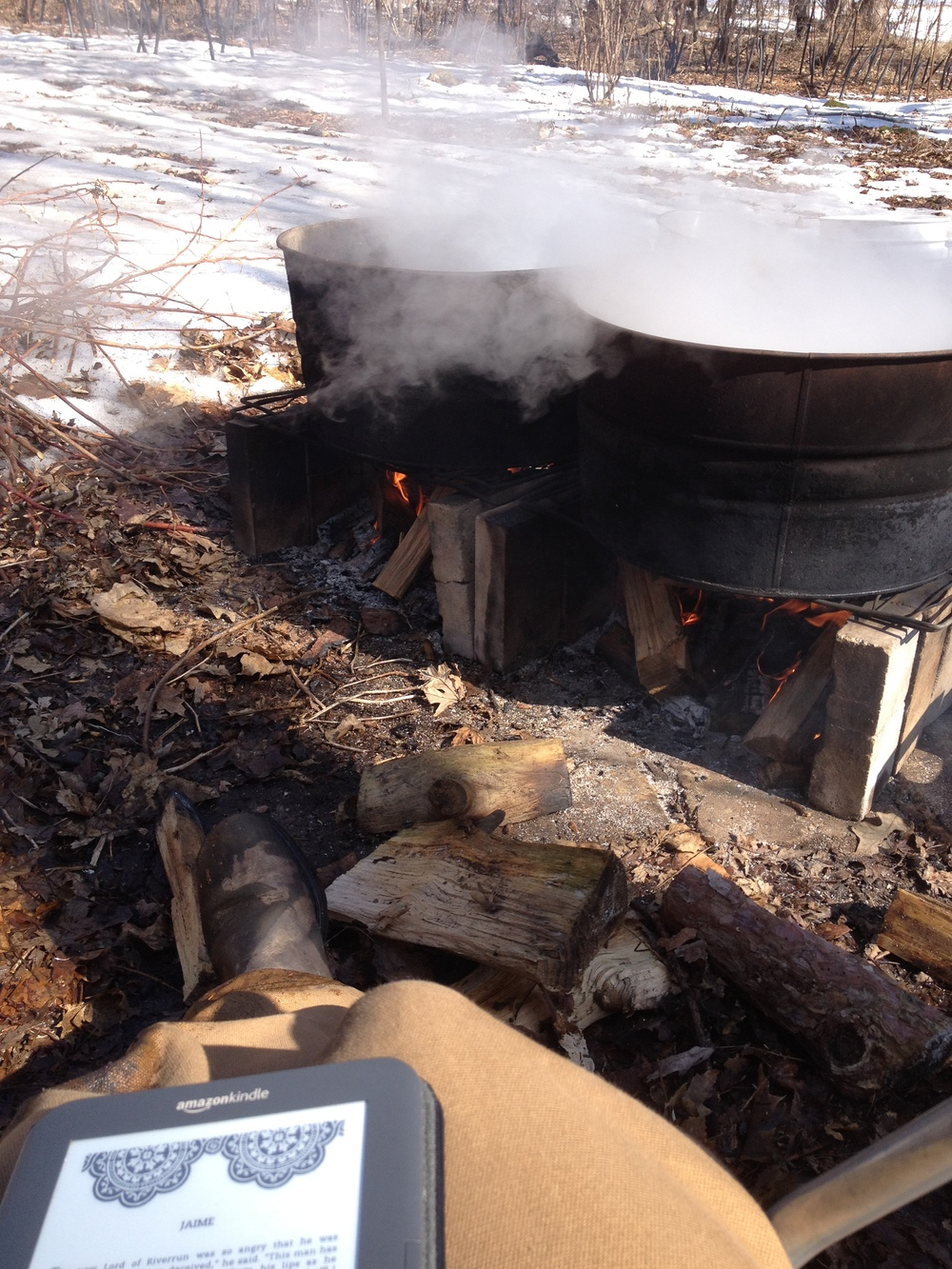 Like I said it's a rough life: feeding a fire all day and finishing the fourth book of A Song of Ice and Fire :)