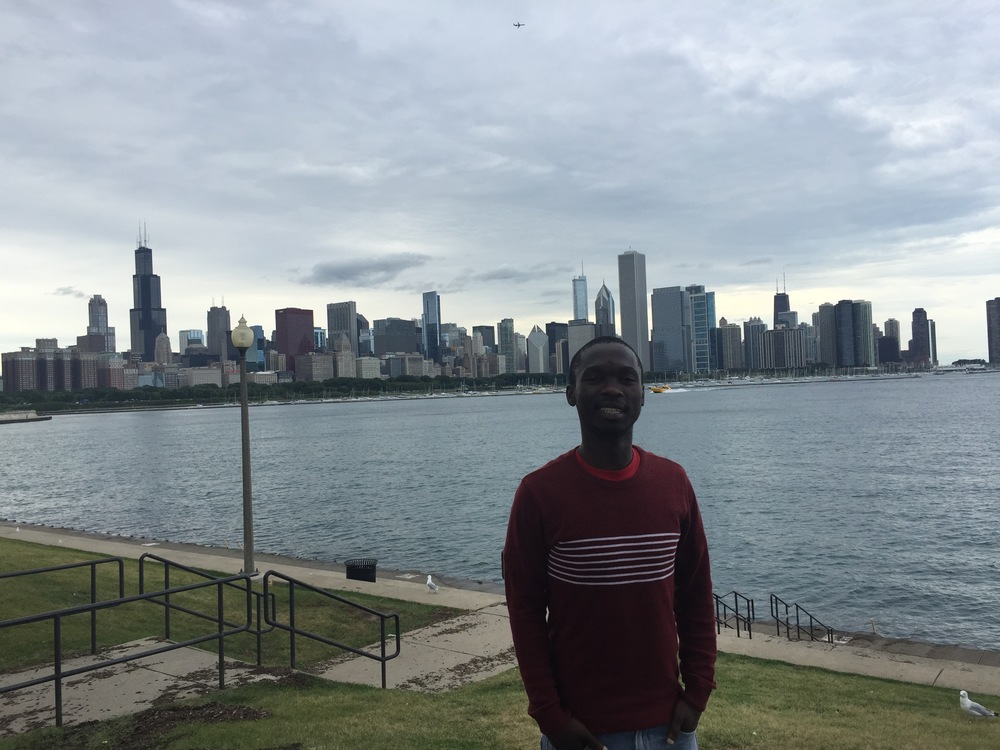 Phumlani takes in a view of the Chicago skyline
