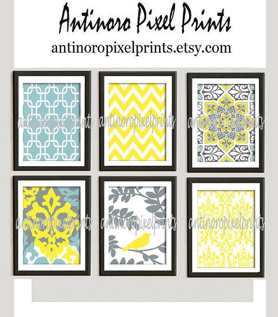 Digital Print Wall Art Yellow turquoise Grey Vintage Modern inspired ...