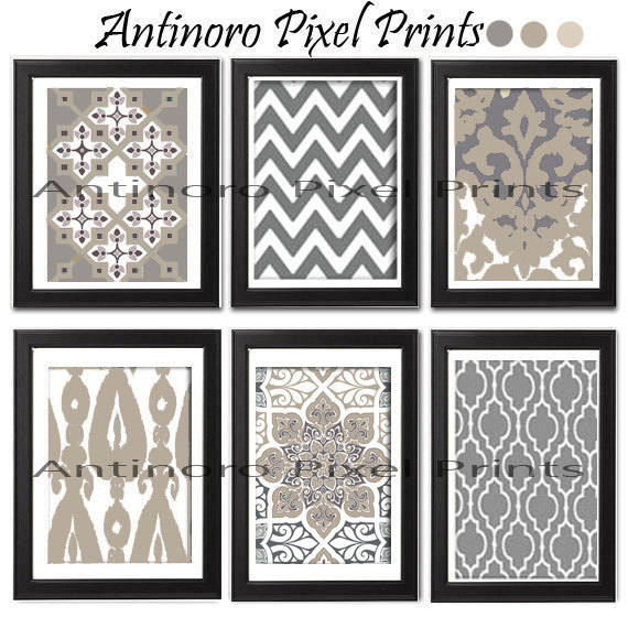 Khaki Grey Tan White Unframed Vintage / Modern inspired Art Prints Collection -Set of 6 - 8x11 Print (UNFRAMED)