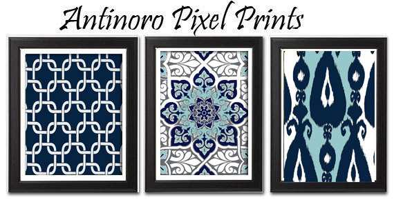 Vintage / Modern Inspired Digital Wall Art Prints Collection -Set of 3 - 5 x 7 Prints - Navy Turquoise Grey White (UNFRAMED)