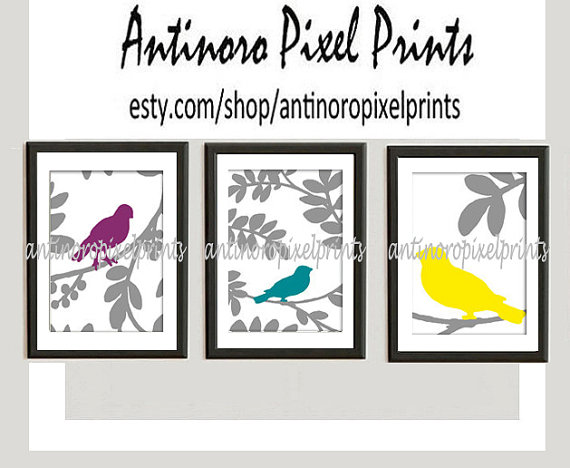 Bird Art Aubergine Turquoise Yellow Vintage / Modern inspired Prints -Set of (3) - 8 x 10 Prints - (UNFRAMED)