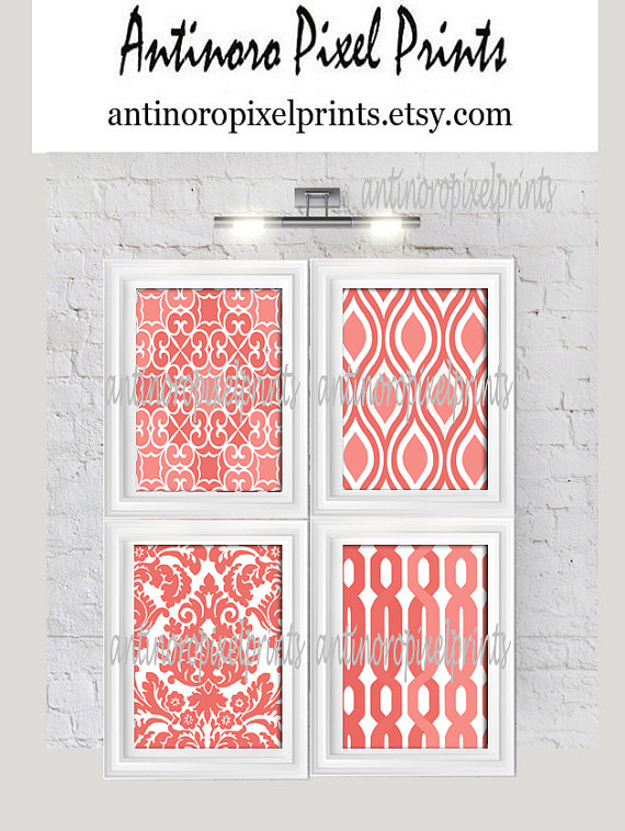 Coral White Damask Prints, (4) 5x7 Prints, Custom Colors Sizes Available