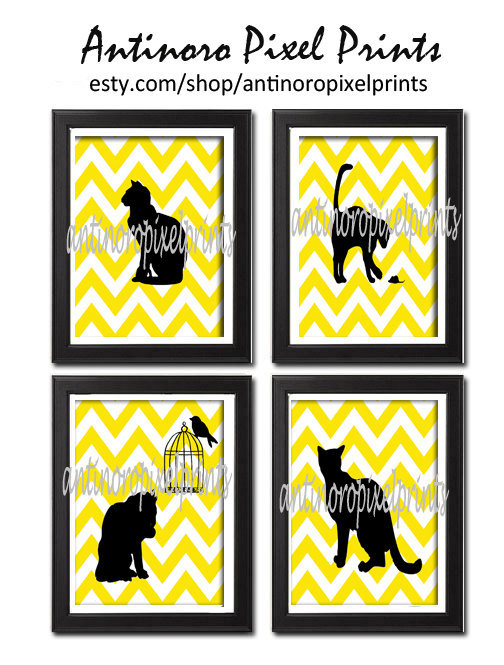 Cat Silhouette Yellow Chevron Vintage / Modern Inspired Art Prints (Yellow / White / Black) -Set of 4 - 8 x 11 Prints - (UNFRAMED)