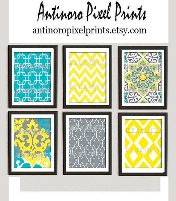 Yellow Turquoise Grey Vintage / Modern inspired Art Prints Collection -Set of (6) - 8x10 Prints - (UNFRAMED)