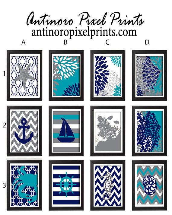Navy turquoise beach house digital illustration print wall for Beach house prints