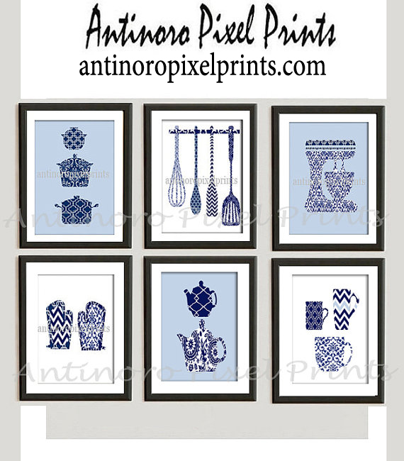 Damask Kitchen Tools Navy Blue White Art Collection Set Includes 6 8x10  Prints Unframed