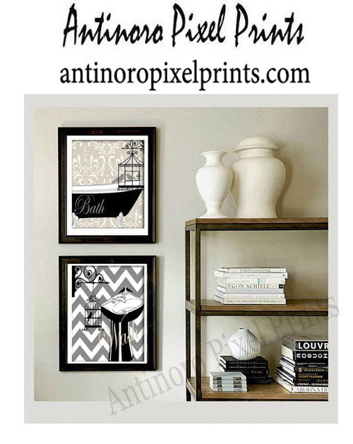 Clawfoot Tub Bath Bird Damask Wall Art Print French Grey Black 28x10 Prints  UNFRAMED Custom Colors Available 153179725