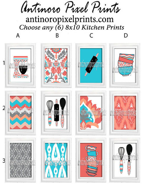 Turquoise Coral Kitchen Utensils Art Prints Pick Any 6 Prints Any Color  8x10 Prints Custom Colors Sizes Available UNFRAMED