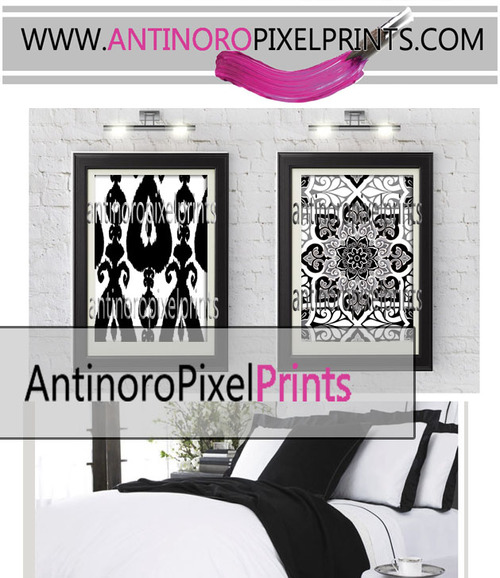 Digital ikat damask prints black white wall art includes 2 18x24 prints unframed custom colors sizes available
