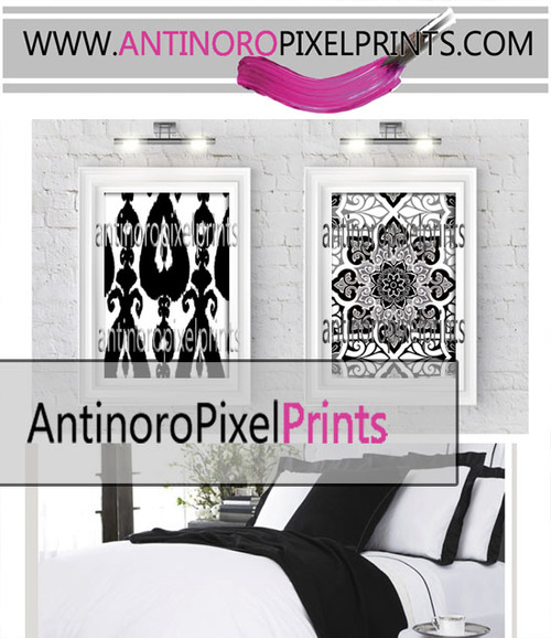 Digital ikat damask prints black white wall art set includes 2 18x24 prints unframed custom colors sizes available