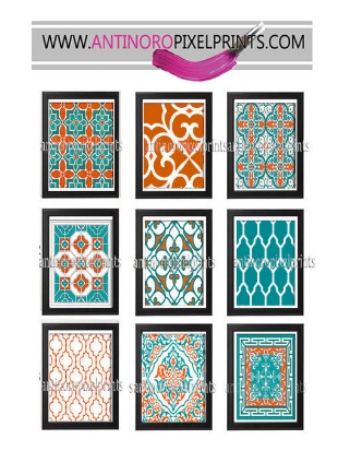 Reviewed by susan  May 30, 2014   Digital Moroccan Damask Prints Teals Orange White Wall Art - Set of (9) - 8x10 Prints - (UNFRAMED) Custom Colors and Sizes Available   I had a costom order that turned out beautifully. Seller extremely helpful and accommodating.
