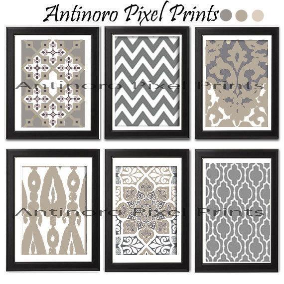 ikat damask khaki grey white prints includes 6 prints custom