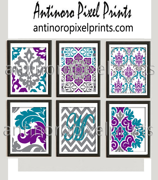 Personalized Ikat Damask Teal Turquoise Purple Grey White Damask Prints Set Includes 6 Wall Art Prints Custom Colors Sizes Available Custom Colors ...  sc 1 st  Antinoro Pixel Prints & Personalized Ikat Damask Teal Turquoise Purple Grey White Damask ...