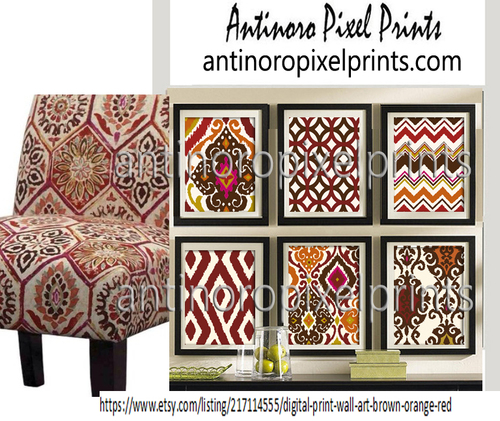 Ikat Brown Orange Red Gold Wall Art Prints Includes 6 Prints ...