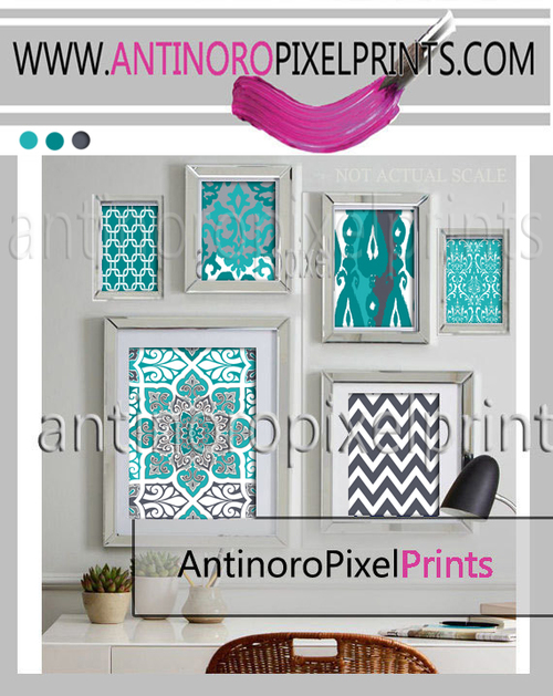 teals grey floral art wall gallery digital print includes 3 prints ...