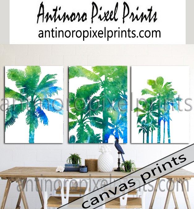 Tropical Wall Art watercolor california tropical palm trees set includes 3 wall art