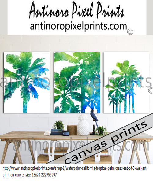 Watercolor California Tropical Palm Trees Set Includes 3 Wall Art
