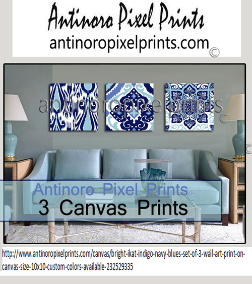 Bright Ikat Indigo Navy Blues Includes 3 Wall Art Print Onto Canvas Size 10x10 Custom Colors Available 232529335