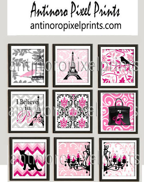 Wall art girls Room Pink Damask Bird cages Cats Eiffel Towers ...
