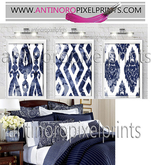 Art Watercolor Ikat Dark Navy Blue White Wall Art Picture Set Of 3