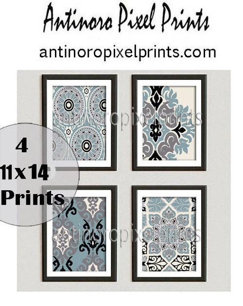 Ikat geometric damask slate blue creme white black grey white pictures set of 4 11x14 prints 226553502