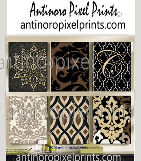 Art Ikat Black Gold White , Set of (6) Wall Art Print on Canvas ...