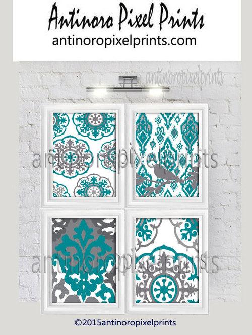 Geometric Ikat Damask Teal White Wall Art Set of (4) Wall Art Prints ...