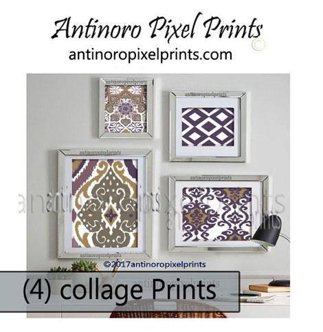 Art Ikat Print Wall Art Purple Greens Wall Art Includes Set of 4 ...