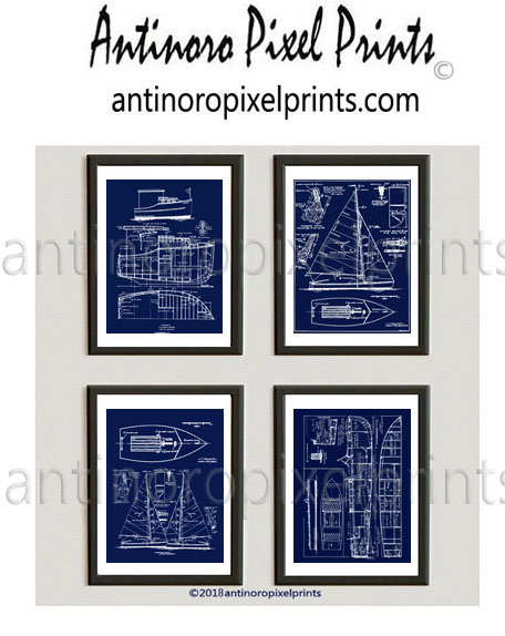 Boat Blueprint Navy White Wall Art Set Includes 4 11x14 Prints Unframed 618594195 Antinoro Pixel Prints