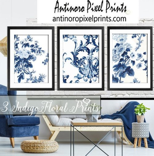 d66cc68ffb9 Blue White Watercolor floral Illustration Wall Art