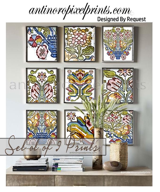 Modern Antique Textile Prints, Wall Art, Set of (9) 10x10 Prints (Unframed) #627465584