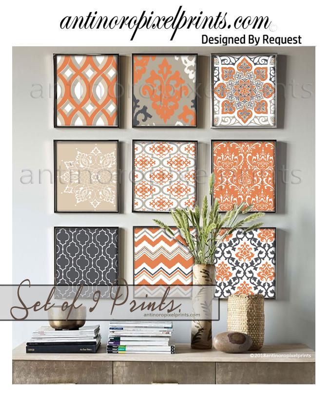 antinoro pixel prints set of 9 damask orange art prints sept.jpg