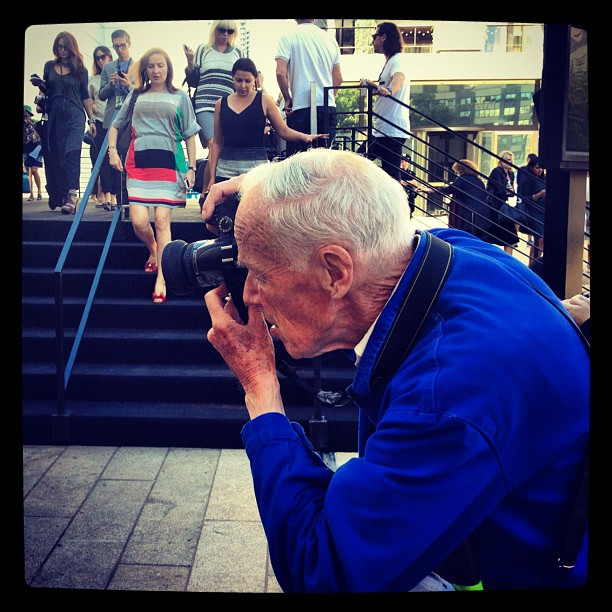 Spotted Bill Cunningham while shooting Fashion Week at Lincoln Center (Taken with  Instagram )