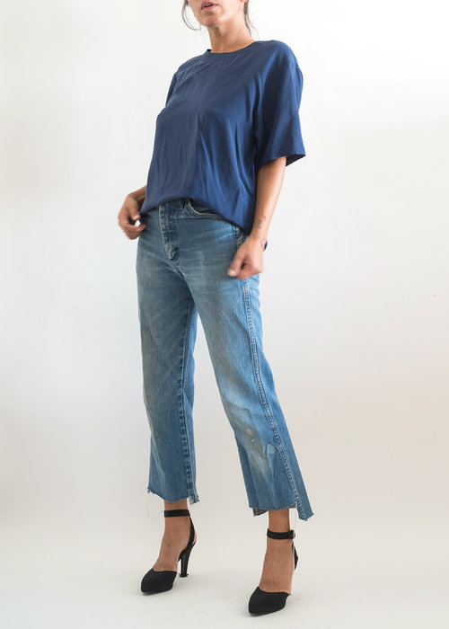 a0e37f7c84a4fb 1990s// Christian Dior Chemises// Navy Washed Silk Tee// S — A PART ...