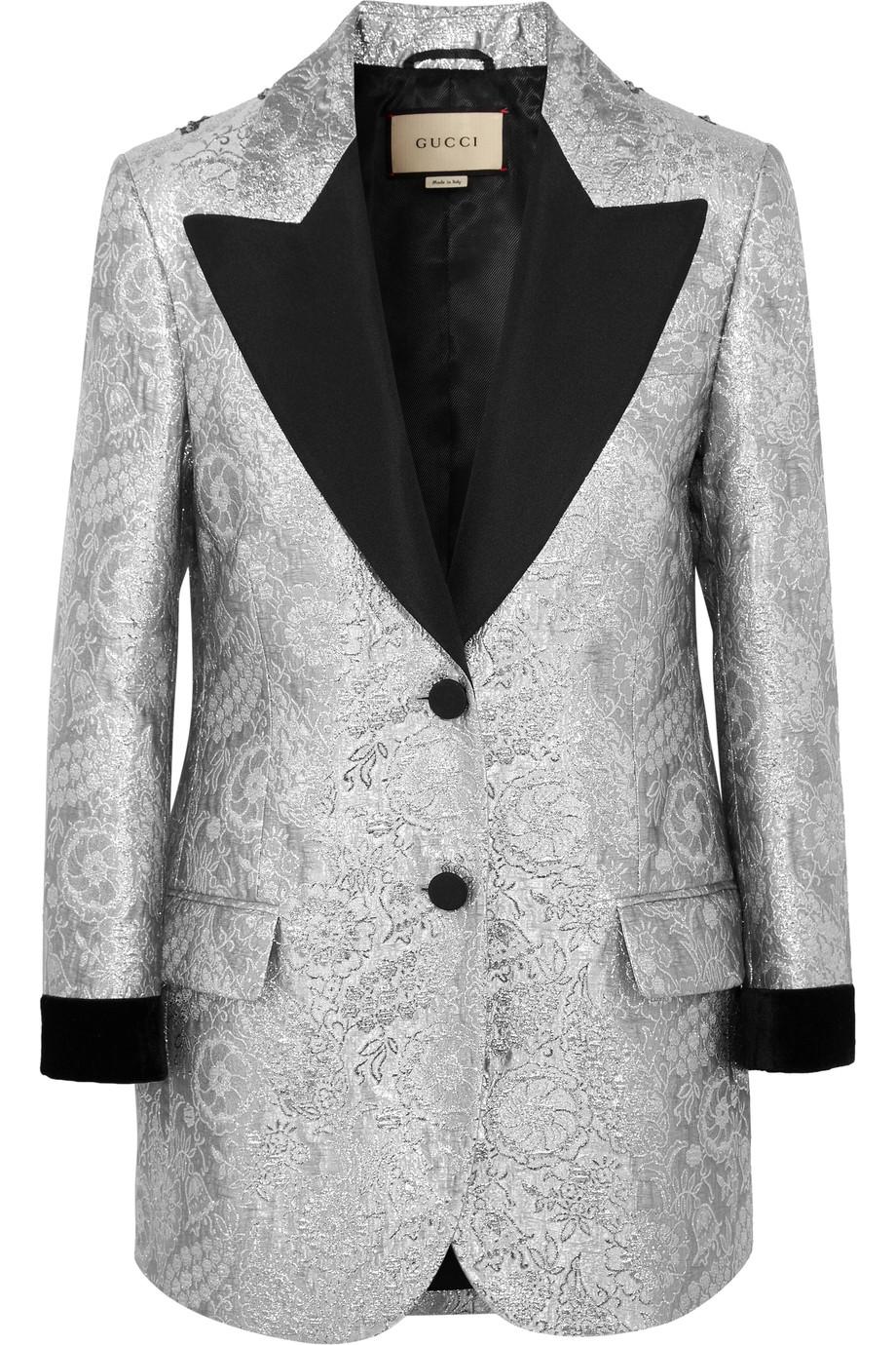 GUCCI Silver Jacquard & Velvet Blazer, Net-a-Porter $7,500