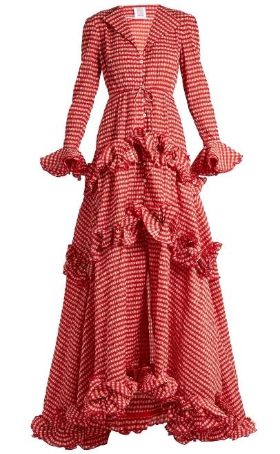 ROSIE ASSOULINE Crinke Gingham Ruffle Dress, Matches $6,106