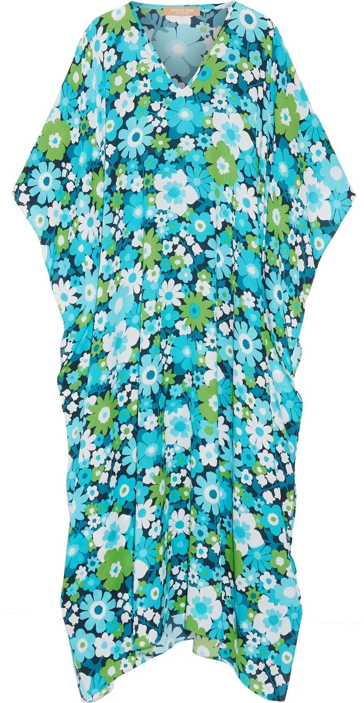 MICHAEL KORS Silk Floral Caftan, Marissa Collection $1850