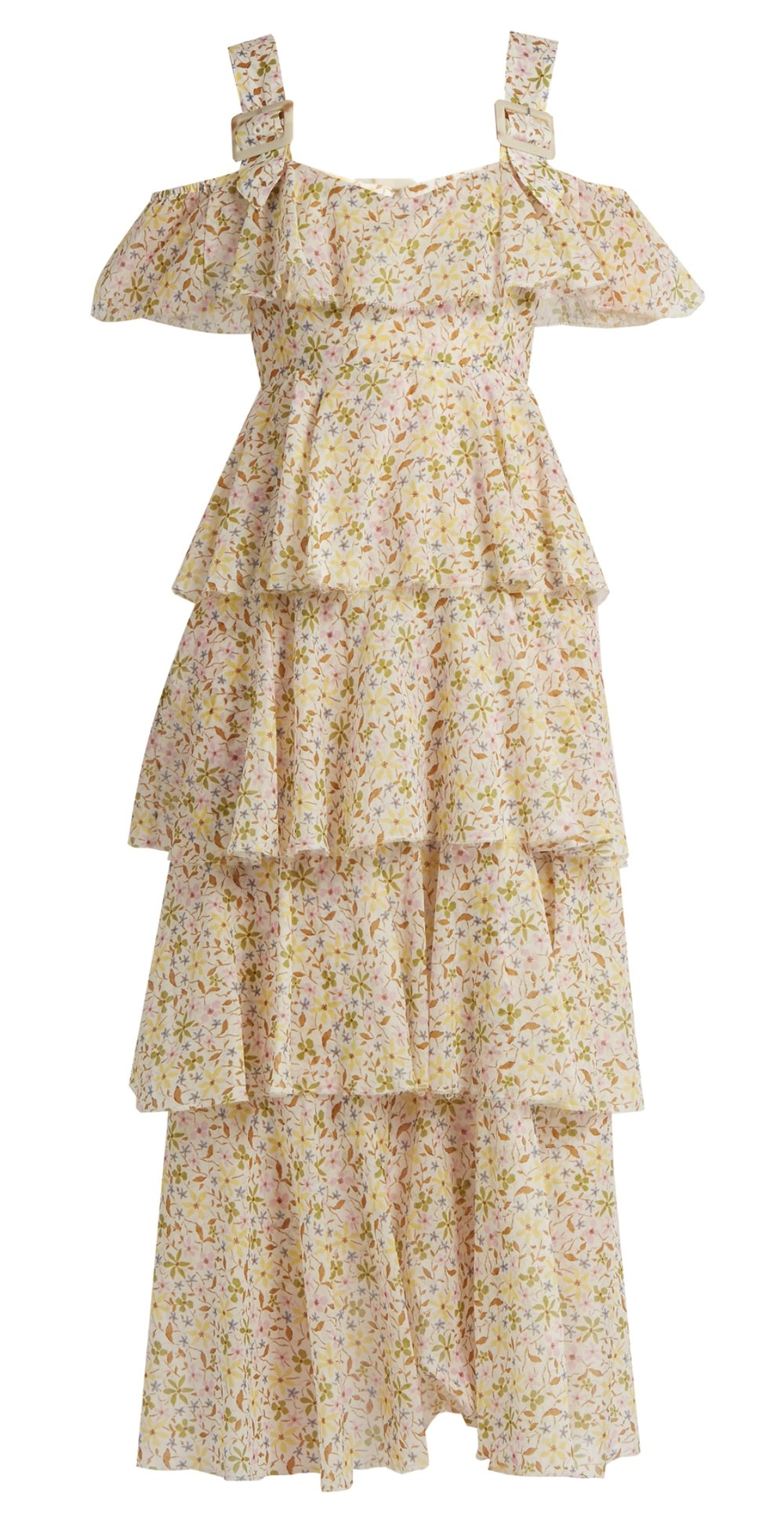 ALEXACHUNG cotton ditsy floral tiered dress, Moda Operandi $785