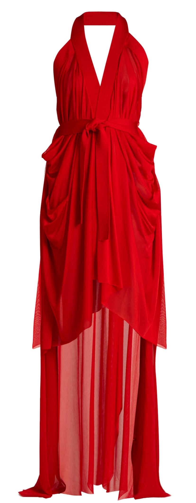 BALMAIN Red Jersey Tank Dress, Matches $1,495