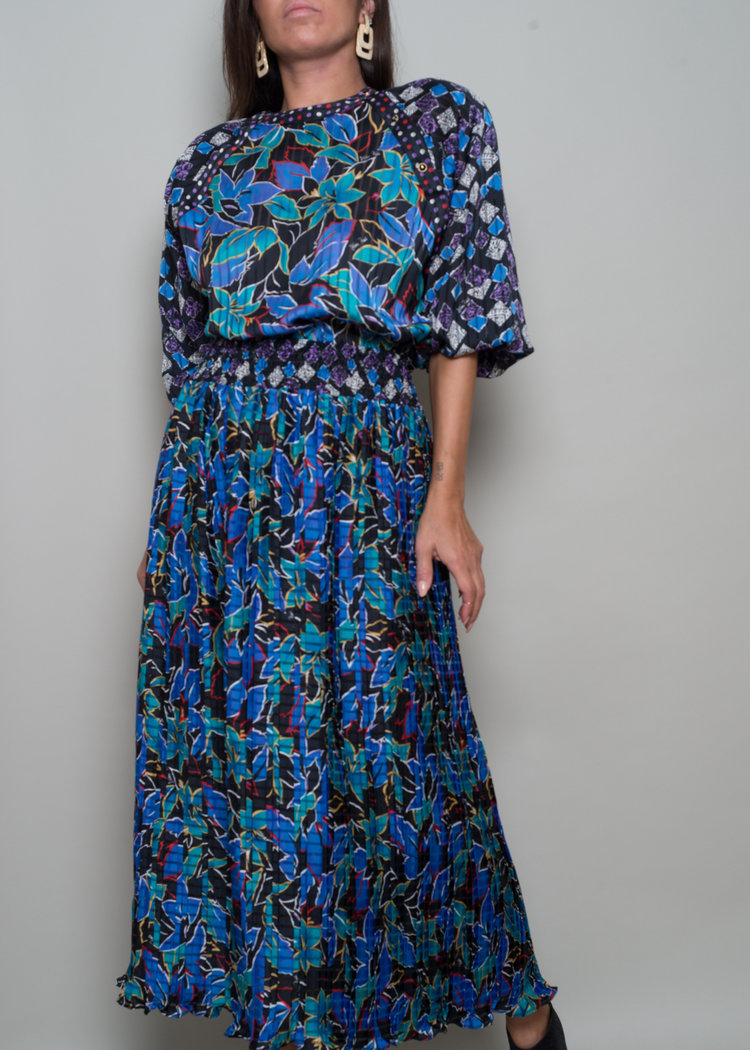 1980s Diane FreisMix Print Midi Dress - From A PART OF THE REST